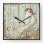 Vintage Rooster on a Rustic Old Wooden Boards Square Wallclocks