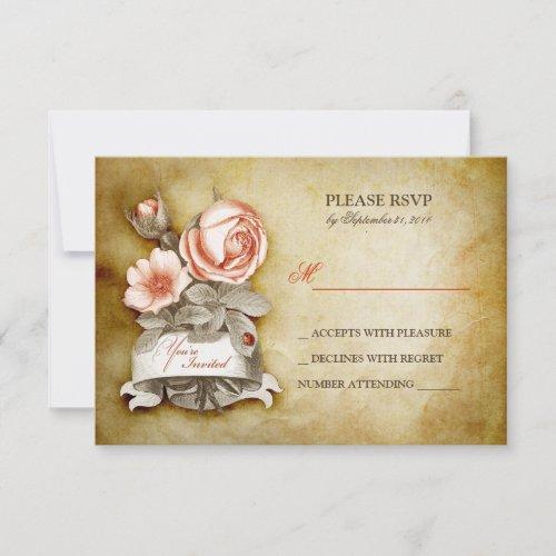 Vintage Rose Wedding RSVP cards
