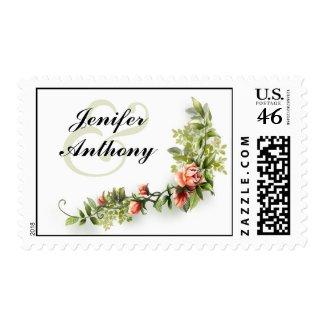 vintage roses elegant wedding postage