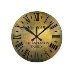 Vintage Rustic Antique Distress Retro Anniversary Round Clock