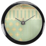 Vintage,rustic,country,chic,mint,pink,floral,girly Aqua Clocks