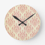 Vintage,rustic,damask,pink,pattern,retro,antique, Round Clocks