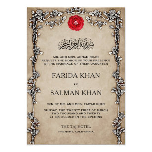Vintage Rustic Fl Frame Ic Muslim Wedding Invitation