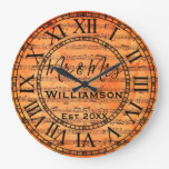 Vintage Rustic Old Music Notes Paper Personalized Large Clock