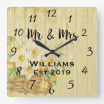 Vintage Rustic Summer Floral Wood Square Wall Clock