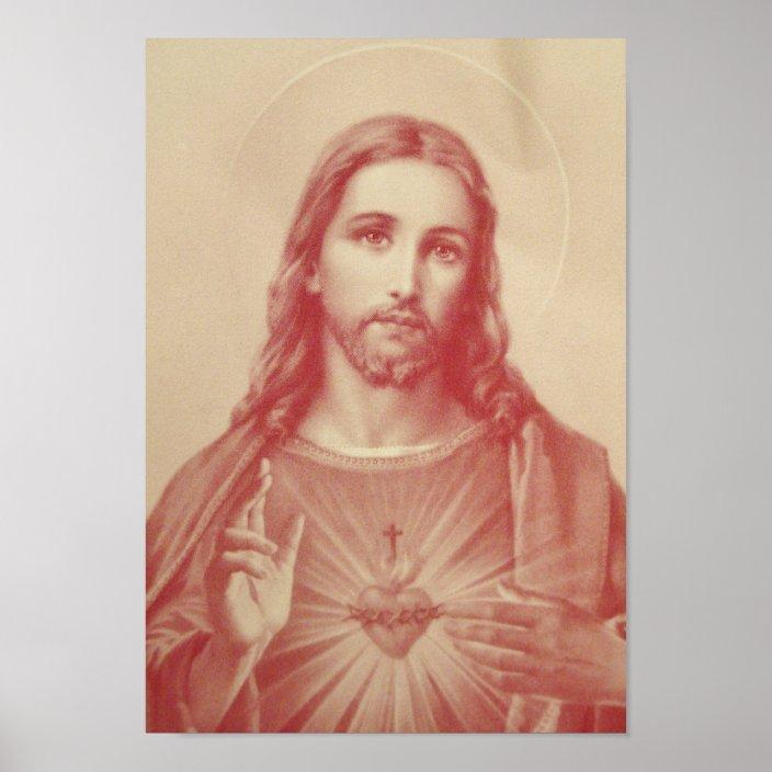 vintage sacred heart of jesus poster zazzle com