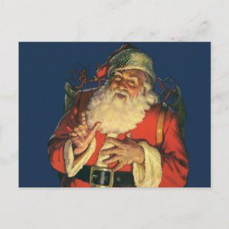 Vintage Santa Claus with Toys on Christmas Eve Post Cards