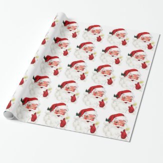 Vintage Santa Clause Wrapping Paper Christmas