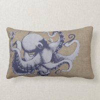 Vintage Sea Creature Octopus Throw Pillow | Zazzle