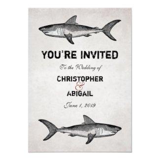 Vintage Shark Beach Wedding Invitation