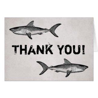 Vintage Sharks Thank You Card
