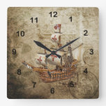 Vintage Ship Design Square Wall Clock