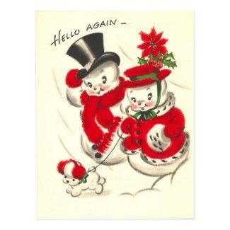 Vintage Snowman and Snowwoman Postcard