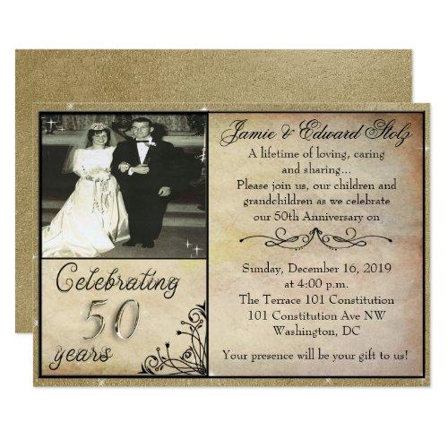 Vintage Style 50th Anniversary Invite