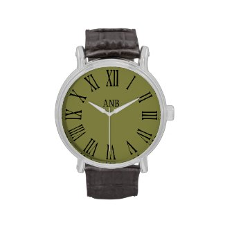 Vintage Style Khaki Green Personalized Men's Watch