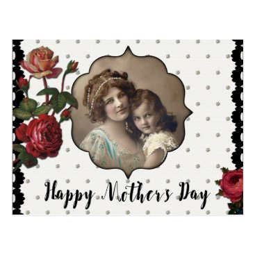 Vintage Style Mother and Child with Roses Postcard