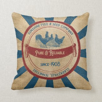 Vintage Sunshine Feed Chickens Advertisement Throw Pillow