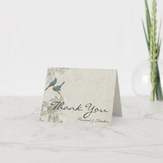 Vintage Teal Birds Damask Thank You Cards