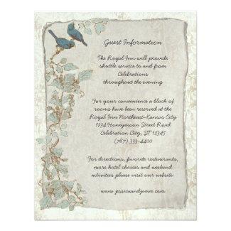 Vintage Teal Birds Damask Wedding Information Card