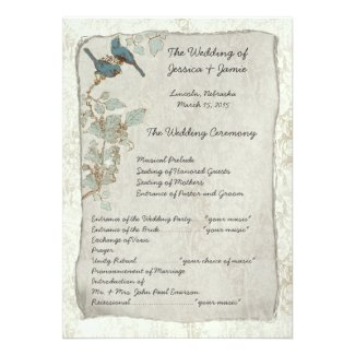 Vintage Teal Birds Damask Wedding Program