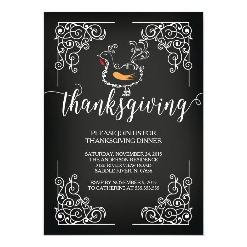Vintage Thanksgiving Dinner Party Invitation