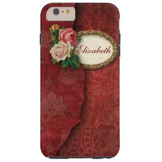 Vintage Torn Red Damask and Roses Personalized