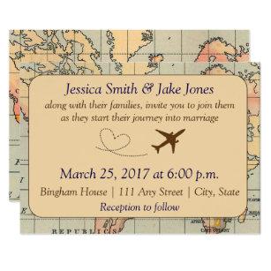 Vintage Travel Themed Wedding Invite