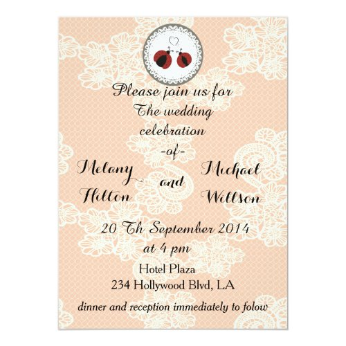 Vintage trendy lace cute ladybugs in love wedding card