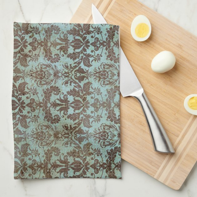 redo my kitchen havertys island vintage turquoise blue brown damask pattern hand towels ...