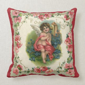 Vintage Valentine's Day, Victorian Angel on Phone Throw Pillow