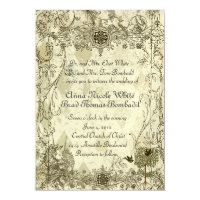 Vintage Verdigris Unicorn Wedding Invitation