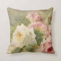 Vintage Victorian Rose Watercolor Throw Pillow | Zazzle.com