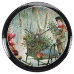 vintage,victorian,rustic,christmas,pattern,girl an fish tank clocks