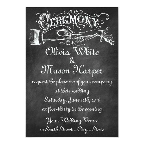 Vintage Wedding Ceremony Chalk Invitation