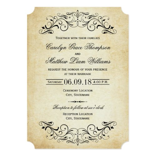 Vintage Wedding Invitations | Elegant Flourish