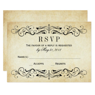 Vine Wedding Rsvp Cards Elegant Flourish