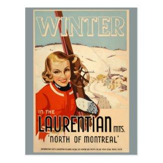 Vintage winter skiing poster postcard