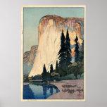 Vintage Woodblock Art El Capitan Yosemite Park Poster