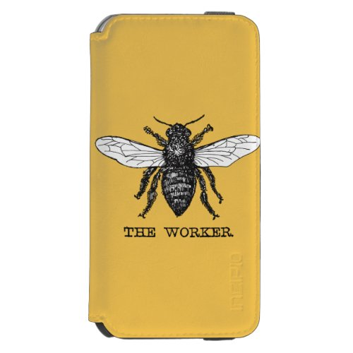 Vintage Worker Bee Illustration iPhone 6/6s Wallet Case
