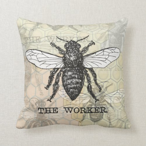 Vintage Worker Bee Illustration Throw Pillow
