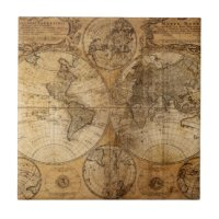 World Map Ceramic Tiles | Zazzle