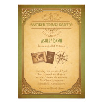 Vintage World Travel Bat Mitzvah Invitation