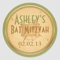 Vintage World Compass Travel Bat Mitzvah Sticker