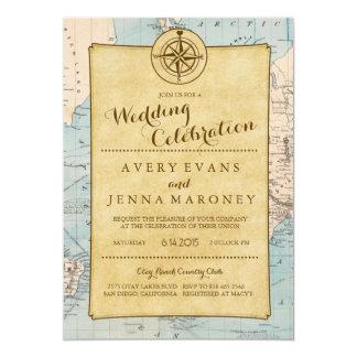 Vine World Travel Map Wedding Invitation