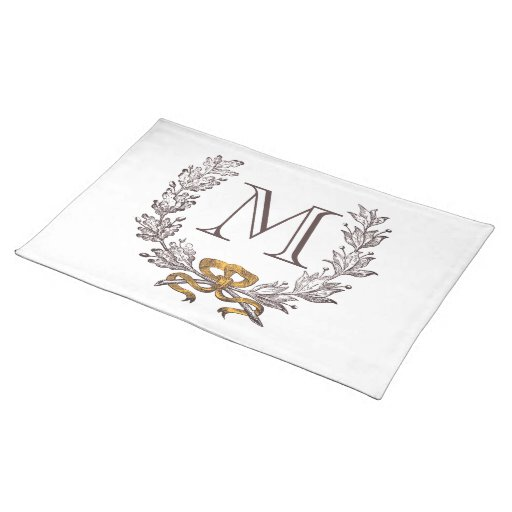 Vintage Wreath Personalized Monogram Initial Mat Place