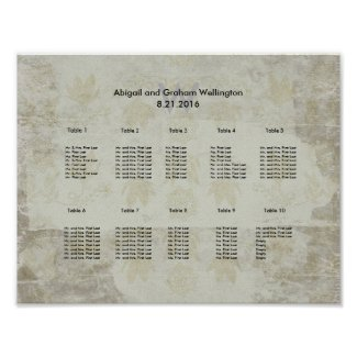 Vintange Inspired Wedding Seating Chart Poster