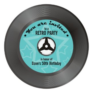 Vinyl Retro Party - you choose label color Personalized Announcement