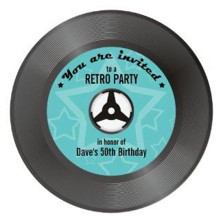 Vinyl Retro Party - you choose label color Personalized Announcement