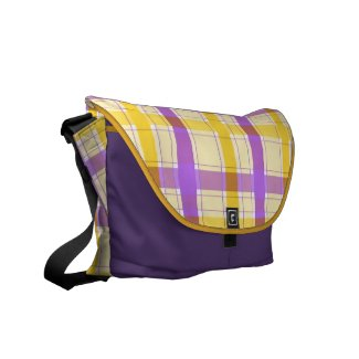 Violet and yellow plaid pattern commuter bags