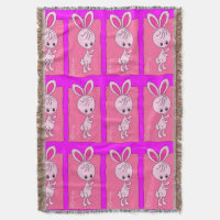 Violet Bunny Throw Blanket